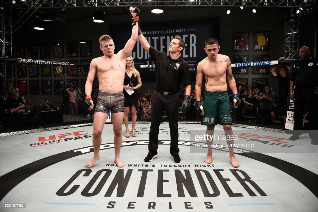 Grant Dawson celebrates his submission victory over Adrian Diaz in their featherweight bout during Dana White's Tuesday Night Contender Series at the TUF Gym on August 15, 2017 in Las Vegas, Nevada.