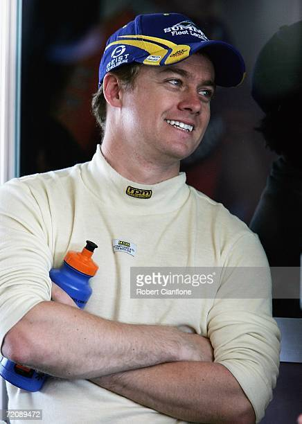 Grant Denyer of APVC Racing looks on in the pit garage during the practice session for the Bathurst 1000 V8 Supercars race at the Mount Panorama...