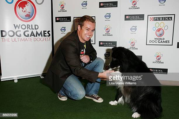 Grant Denyer with dog Bullet attend the launch of The Purina World Dog Games at Centennial Park Dining on June 24 2009 in Sydney Australia