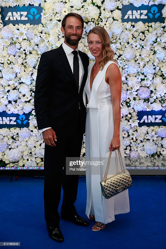 Grant Elliot (L) and Marlies Elliot (R) pose ahead of the 2016 New Zealand cricket awards at the Viaduct Events Centre on February 25, 2016 in Auckland, New Zealand.
