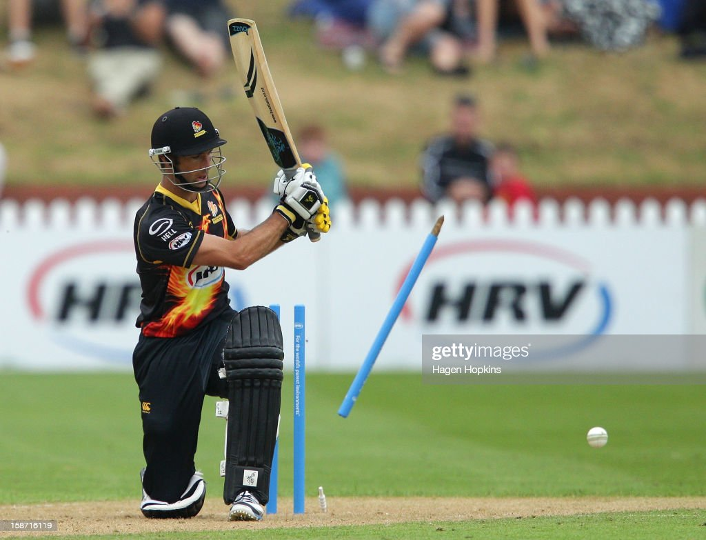Grant Elliot of Wellington is dismissed during the Twenty20 match between Wellington Firebirds and Central Stags at Hawkins Basin Reserve on December 26, 2012 in Wellington, New Zealand.