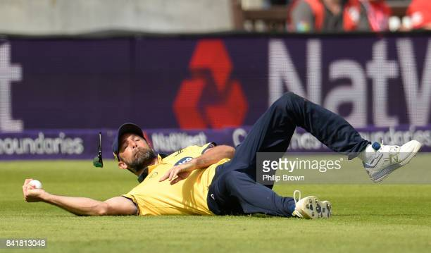 Grant Elliott of Birmingham catches Colin Ingram of Glamorgan during the Natwest T20 Blast semifinal match between Birmingham and Glamorgan at...