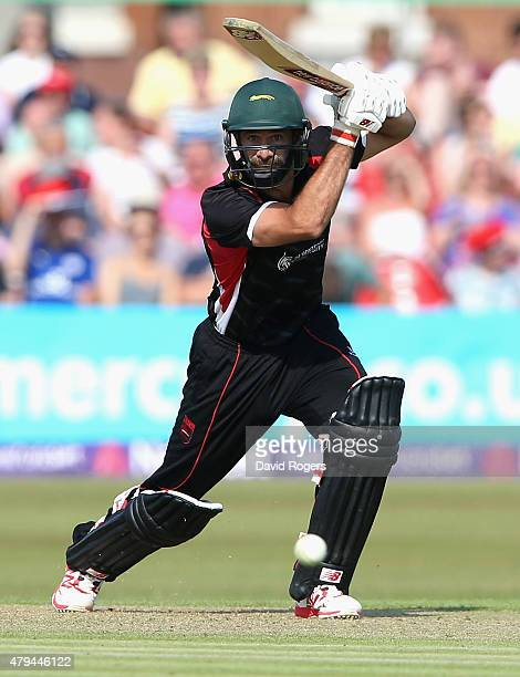 Grant Elliott of Leicestershire Foxes drives the ball for four runs during the Natwest T20 Blast match between Leicestershire Foxes and Birmingham...