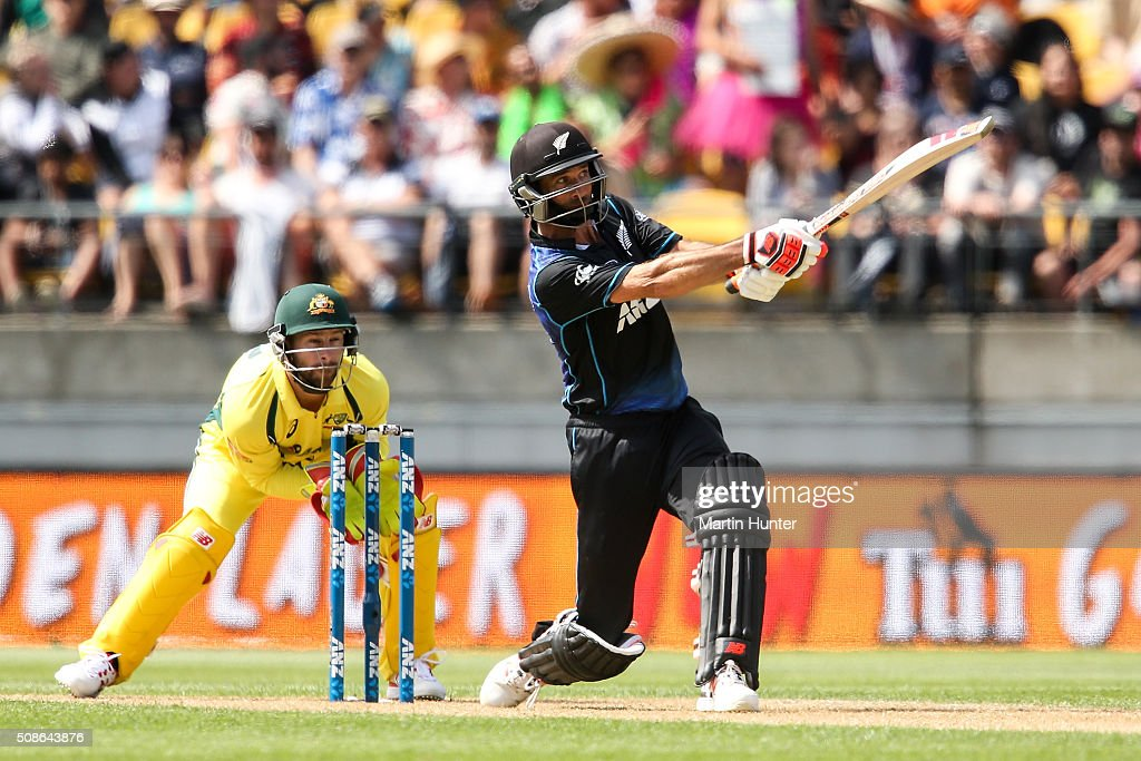 <a gi-track='captionPersonalityLinkClicked' href=/galleries/search?phrase=Grant+Elliott&family=editorial&specificpeople=708027 ng-click='$event.stopPropagation()'>Grant Elliott</a> of New Zealand bats during game two of the one day international series between New Zealand and Australia at Westpac Stadium on February 6, 2016 in Wellington, New Zealand.