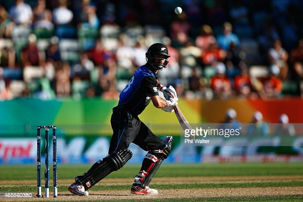 Grant Elliott of New Zealand bats during the 2015 ICC Cricket World Cup match between New Zealand and Afghanistan at McLean Park on March 8 2015 in...