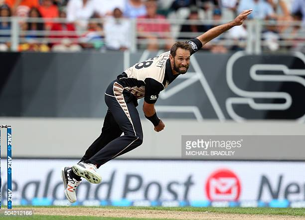 Grant Elliott of New Zealand bowls during the second T20 cricket match between New Zealand and Sri Lanka at Eden Park in Auckland on January 10 2016...
