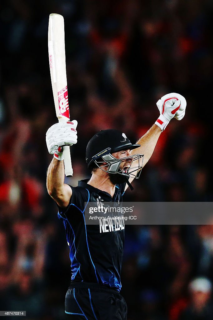 Grant Elliott of New Zealand celebrates after hitting a six to win the 2015 Cricket World Cup Semi Final match between New Zealand and South Africa at Eden Park on March 24, 2015 in Auckland, New Zealand.