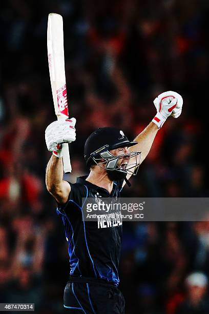Grant Elliott of New Zealand celebrates after hitting a six to win the 2015 Cricket World Cup Semi Final match between New Zealand and South Africa...