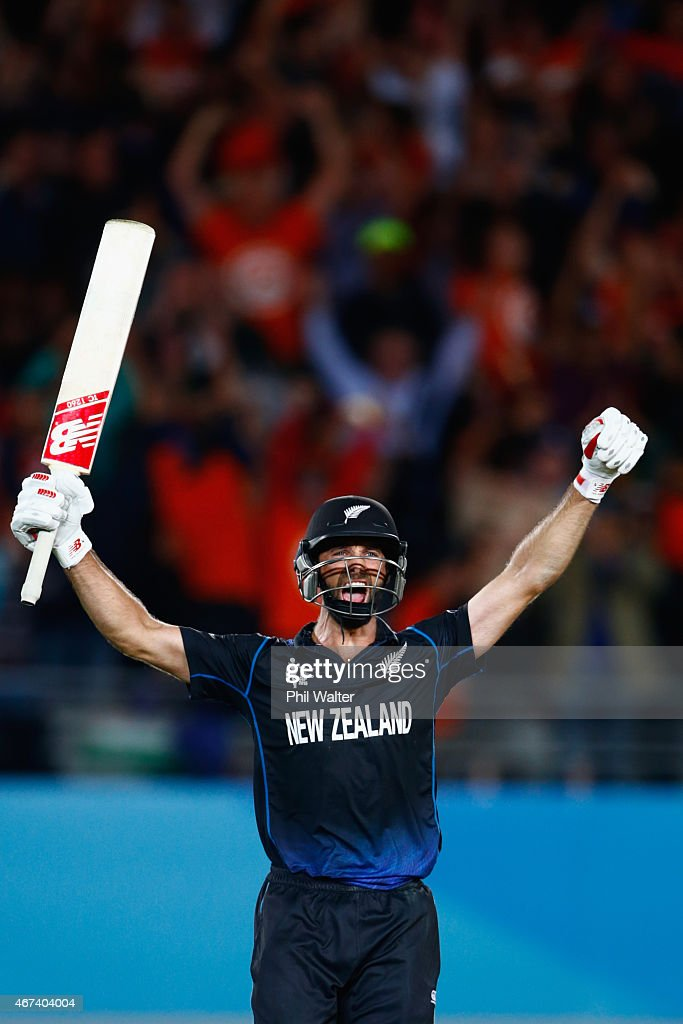 <a gi-track='captionPersonalityLinkClicked' href=/galleries/search?phrase=Grant+Elliott&family=editorial&specificpeople=708027 ng-click='$event.stopPropagation()'>Grant Elliott</a> of New Zealand celebrates hitting the winning runs during the 2015 Cricket World Cup Semi Final match between New Zealand and South Africa at Eden Park on March 24, 2015 in Auckland, New Zealand.