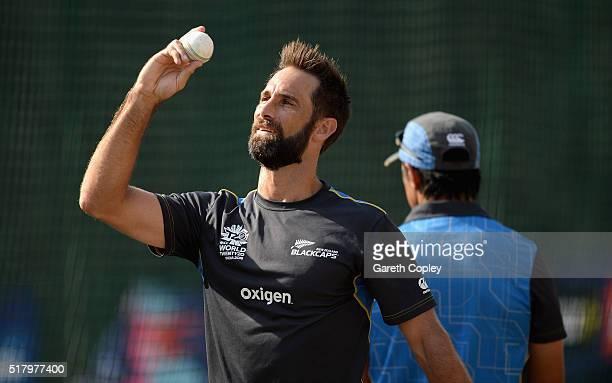 Grant Elliott of New Zealand during a net session at Feroz Shah Kotla Stadium on March 29 2016 in Delhi India