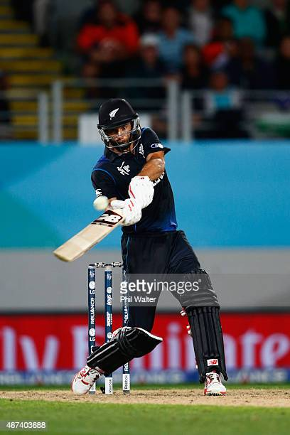 Grant Elliott of New Zealand hits the winning runs during the 2015 Cricket World Cup Semi Final match between New Zealand and South Africa at Eden...