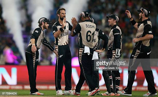 Grant Elliott of New Zealand is congratulated on bowling Mashrafe Mortaza Captain of Bangladesh LBW during the ICC World Twenty20 India 2016 match...