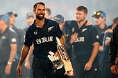 Grant Elliott of New Zealand leaves the field following the 2015 Cricket World Cup Semi Final match between New Zealand and South Africa at Eden Park...