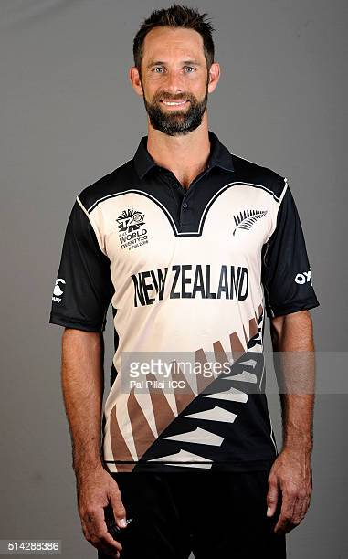 Grant Elliott of New Zealand poses during the official photocall for the ICC Twenty20 World on March 8 2016 in Mumbai India