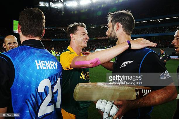 Grant Elliott of New Zealand shares a hug with Dale Steyn of South Africa after the 2015 Cricket World Cup Semi Final match between New Zealand and...