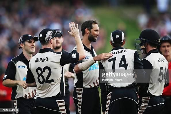 Grant Elliott of the Black Caps celebrates the wicket of Sohaib Maqsood of Pakistan during the International Twenty20 match between New Zealand and...