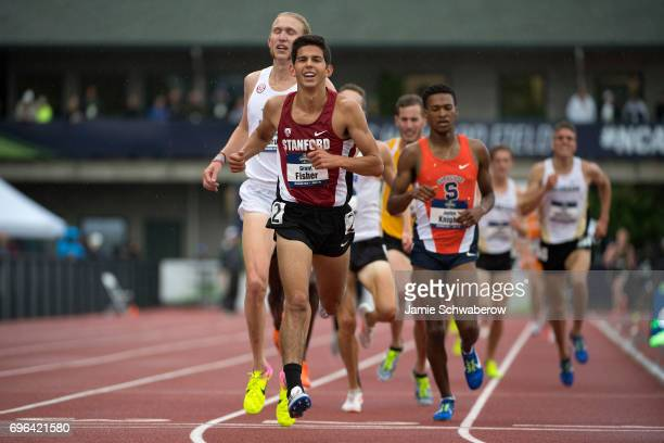 Grant Fisher of Stanford University races to the finish line in the 5000 meter run during the Division I Men's Outdoor Track Field Championship held...