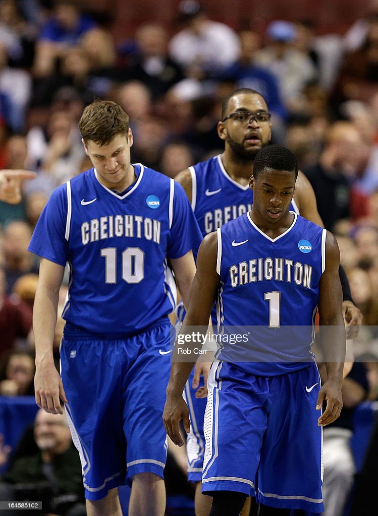Grant Gibbs #10, Gregory Echenique #0 and Austin Chatman #1 of the Creighton Bluejays react late in the second half while taking on the Duke Blue Devils during the third round of the 2013 NCAA Men's Basketball Tournament at Wells Fargo Center on March 24, 2013 in Philadelphia, Pennsylvania.