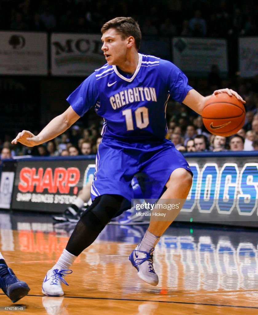 Grant Gibbs #10 of the Creighton Bluejays dribbles the ball against the Butler Bulldogs at Hinkle Fieldhouse on February 13, 2014 in Indianapolis, Indiana.
