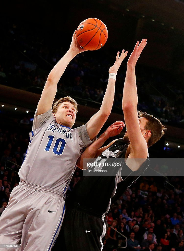 Grant Gibbs #10 of the Creighton Bluejays shoots against Carson Desrosiers #33 of the Providence Friars in the second half during the Championship game of the 2014 Men's Big East Basketball Tournament at Madison Square Garden on March 15, 2014 in New York City.