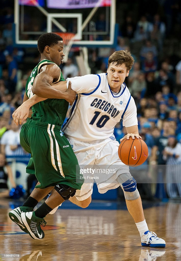 Grant Gibbs #10 of the Creighton Bluejays tries to get by Quincy Taylor #25 of the UAB Blazers during their game at CenturyLink Center on November 14, 2012 in Omaha, Nebraska. Creighton beat UAB 77-60.