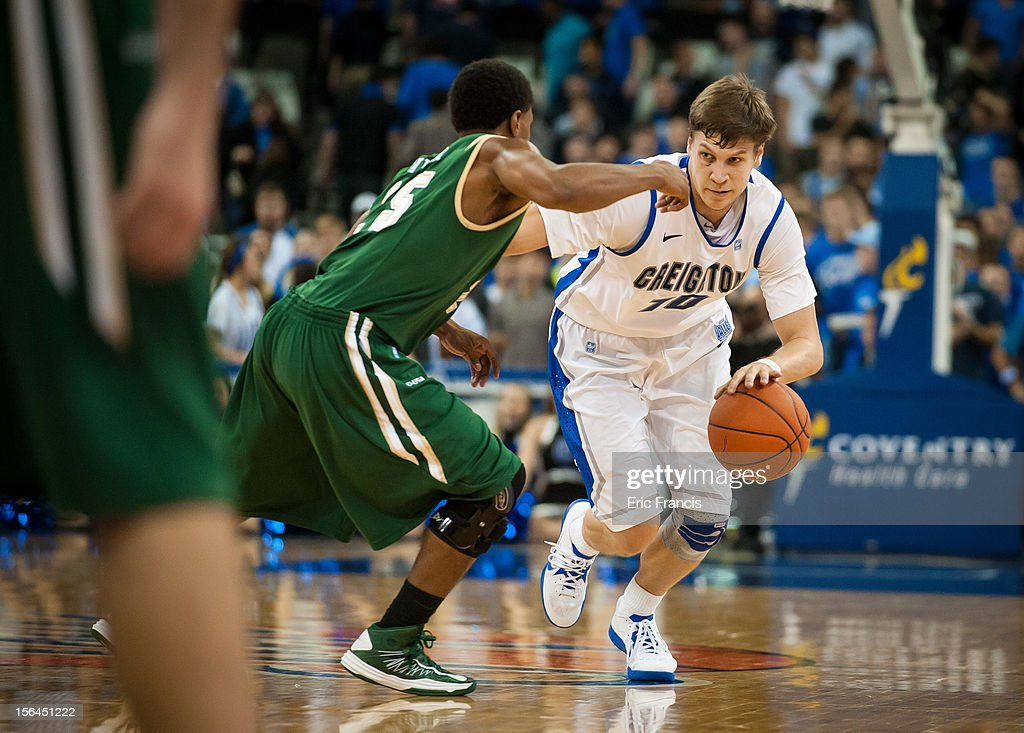 Grant Gibbs #10 of the Creighton Bluejays tries to get by Quincy Taylor #25 of the UAB Blazers during their game at CenturyLink Center on November 14, 2012 in Omaha, Nebraska. Creighton beat UAB