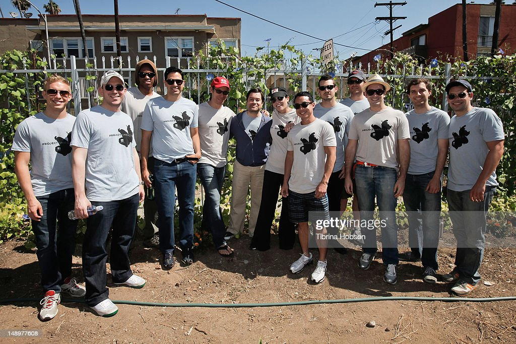 Grant Greenly, Ophir Lupu, Aaron Carew, Keya Khayatian, Richard Klubeck, Billy Lazarus, Shani Rosenzweig, Martin To, Maxim Karlik, Brian Malone, Steven Gottlieb, Gus Hickey and Charlie Schuster attend United Talent Agency charity event for Project Angel Food at St. Mary's Episcopal Church on July 20, 2012 in Los Angeles, California.