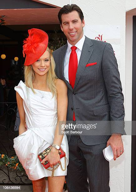 Grant Hackett and Candice Alley attend the Emirates marquee during Emirates Melbourne Cup Day at Flemington Racecourse on November 2 2010 in...