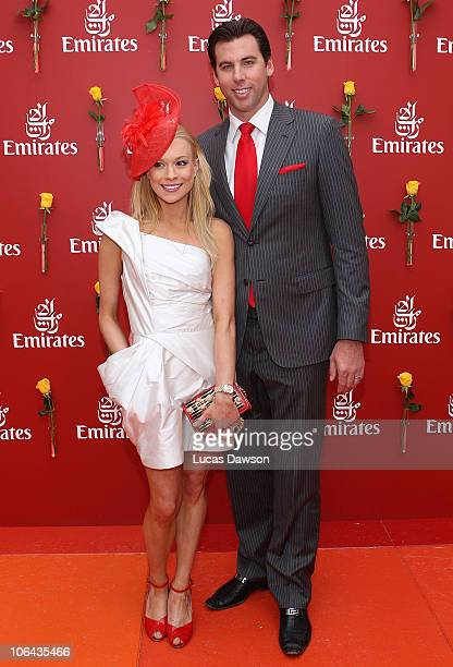 Grant Hackett and Candice Alley attends the Emirates marquee during Emirates Melbourne Cup Day at Flemington Racecourse on November 2 2010 in during...