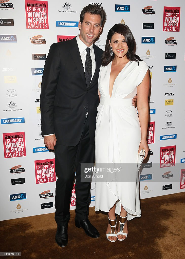 Grant Hackett and Stephanie Rice arrive at the 'I Support Women In Sport' awards at The Ivy Ballroom on October 15, 2013 in Sydney, Australia.