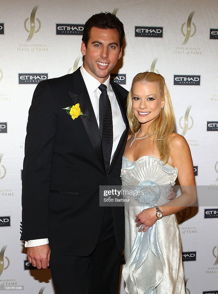 Grant Hackett and wife Candice Alley attend the Sport Australia Hall of Fame at Crown Casino on October 20, 2010 in Melbourne, Australia.