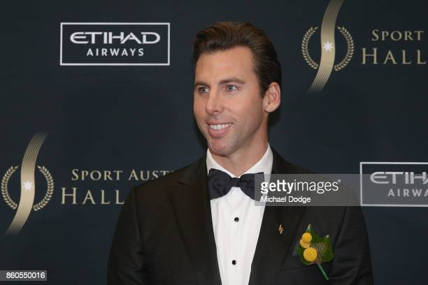 Grant Hackett arrives at the Sport Australia Hall of Fame Annual Induction and Awards Gala Dinner at Crown Palladium on October 12 2017 in Melbourne...