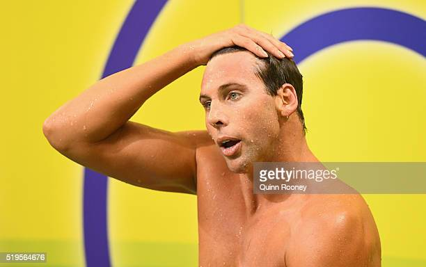 Grant Hackett of Australia catches his breath after racing in the final of the Men's 400 Metre Freestyle during day one of the 2016 Hancock...