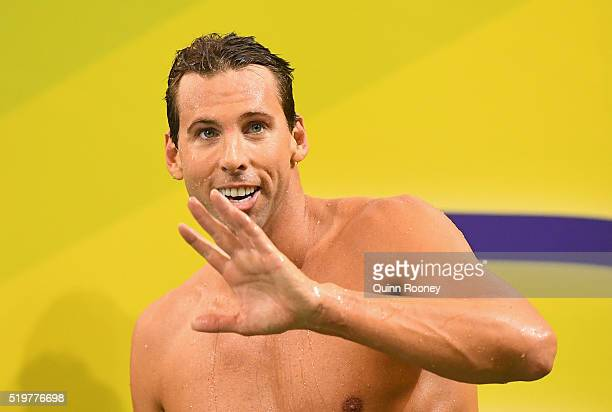 Grant Hackett of Australia waves to the crowd after racing in the Men's 200 Metre Freestyle during day two of the 2016 Australian Swimming...
