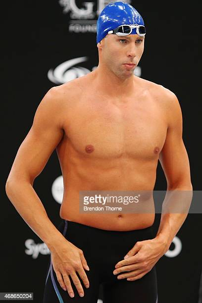 Grant Hackett of Qld prepares for the Men's 200m Freestyle Final during the day three of the Australian National Swimming Championships at Sydney...