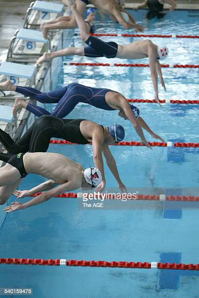 Grant Hackett slips on the blocks during a club race at Keysborough 3rd March 2007 THE AGE NEWS Picture by JOE CASTRO