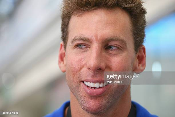 Grant Hackett speaks to the media on pool deck during day eight of the Australian National Swimming Championships at Sydney Olympic Park Aquatic...