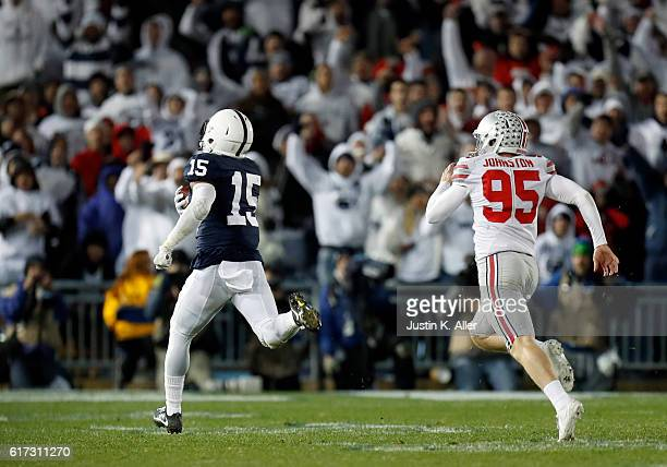 Grant Haley of the Penn State Nittany Lions returns a field goal block 60 yards for a touchdown in the fourth quarter during the game against the...