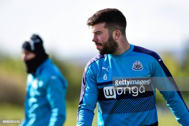 Grant Hanley during the Newcastle United Training Session at The Newcastle United Training Centre on April 13 2017 in Newcastle upon Tyne England
