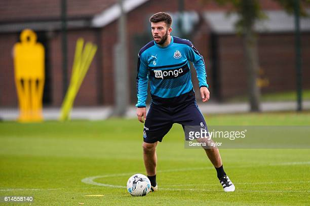 Grant Hanley looks to pass the ball during Newcastle United Training Session at The Newcastle United Training Centre on October 14 2016 in Newcastle...