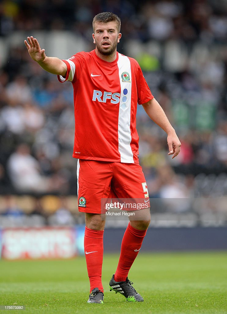 Grant Hanley of Blackburn looks on during the Sky Bet Championship match between Derby County and Blackburn Rovers at Pride Park Stadium on August 04, 2013 in Derby, England,