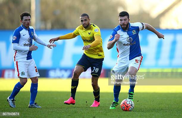 Grant Hanley of Blackburn Rovers and Jordan Bowery of Oxford United compete for the ball during The Emirates FA Cup fourth round match between Oxford...