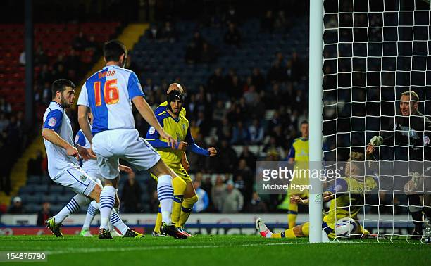 Grant Hanley of Blackburn scores to make it 10 during the nPower Championship match between Blackburn Rovers and Sheffield Wednesday at Ewood Park on...