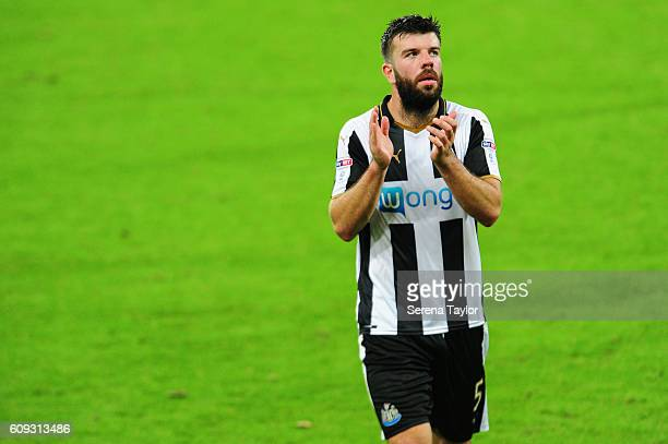 Grant Hanley of Newcastle United claps the fans after winning the EFL Cup between Newcastle United and Wolverhampton at StJames' Park on September 20...