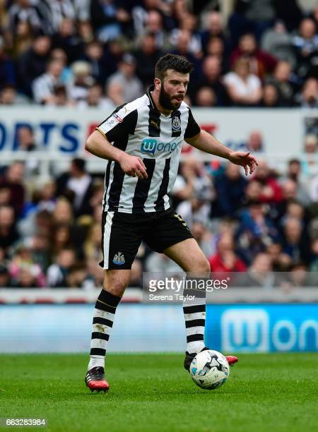 Grant Hanley of Newcastle United controls the ball during the Sky Bet Championship match between Newcastle United and Wigan Athletic at StJames' Park...