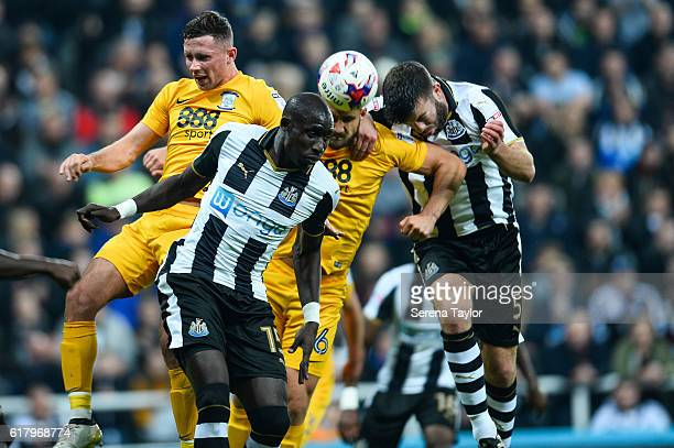 Grant Hanley of Newcastle United heads the ball during the EFL Cup Fourth Round Match between Newcastle United and Preston North End at StJames' Park...