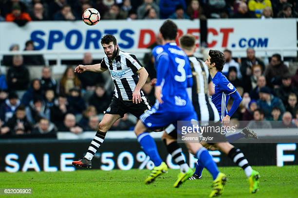 Grant Hanley of Newcastle United heads the ball during the Emirates FA cup third round between Newcastle United and Birmingham City at StJames' Park...