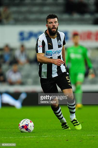 Grant Hanley of Newcastle United looks to pass the ball during the EFL Cup between Newcastle United and Wolverhampton at StJames' Park on September...