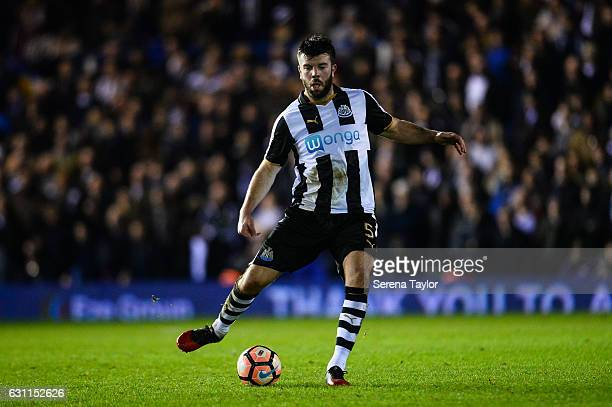 Grant Hanley of Newcastle United passes the ball during The Emirates FA Cup Third Round between Birmingham City and Newcastle United at StAndrews on...