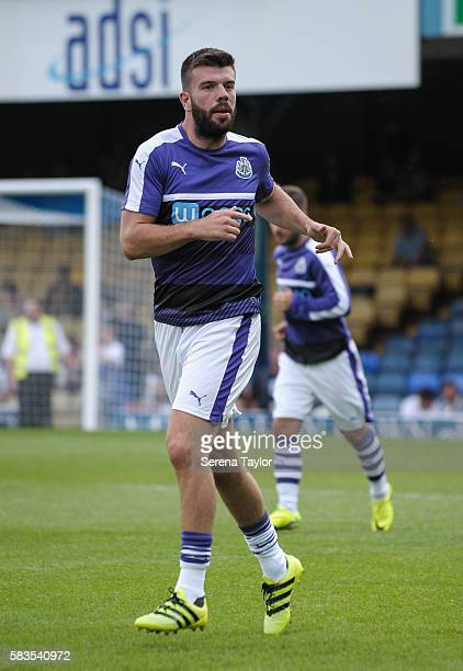 Grant Hanley of Newcastle United warms up for the first time as a Newcastle player during the Pre Season Friendly match between Southend United and...